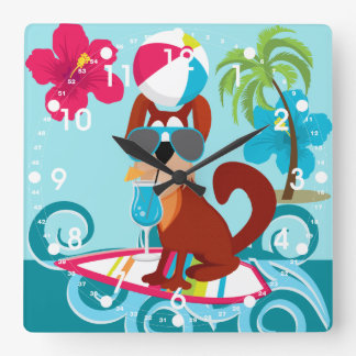Cool Surfer Dog Surfboard Summer Beach Party Fun Square Wall Clock