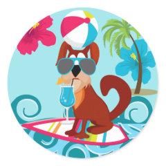 Cool Surfer Dog Surfboard Summer Beach Party Fun Round Stickers