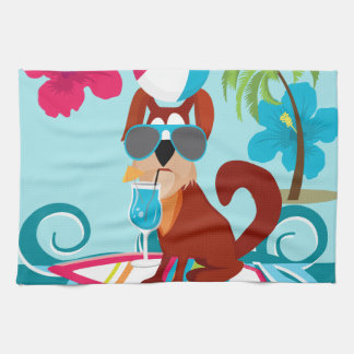 Cool Surfer Dog Surfboard Summer Beach Party Fun Towel