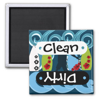 Cool Surfer Dude Surfing Beach Ocean Design 2 Inch Square Magnet