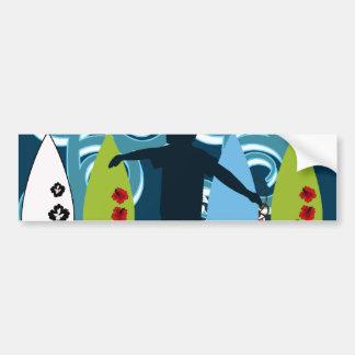 Cool Surfer Dude Surfing Beach Ocean Design Bumper Sticker