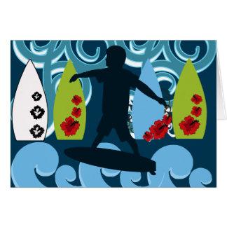 Cool Surfer Dude Surfing Beach Ocean Design Card