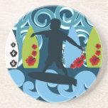 Cool Surfer Dude Surfing Beach Ocean Design Beverage Coaster