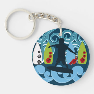 Cool Surfer Dude Surfing Beach Ocean Design Double-Sided Round Acrylic Keychain
