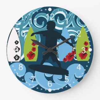 Cool Surfer Dude Surfing Beach Ocean Design Large Clock