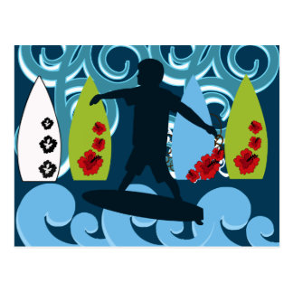 Cool Surfer Dude Surfing Beach Ocean Design Postcard