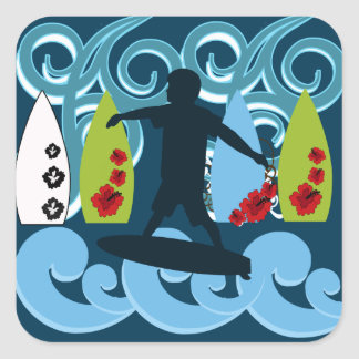 Cool Surfer Dude Surfing Beach Ocean Design Stickers