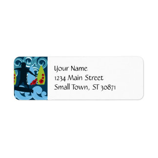 Cool Surfer Dude Surfing Beach Ocean Surf Waves Label