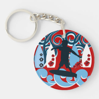 Cool Surfer Dude Surfing Beach Ocean Wave Surf Double-Sided Round Acrylic Keychain