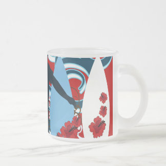 Cool Surfer Dude Surfing Beach Ocean Wave Surf Frosted Glass Coffee Mug