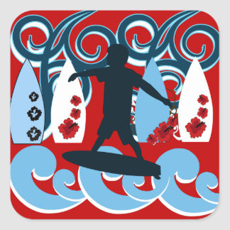 Cool Surfer Dude Surfing Beach Ocean Wave Surf Square Stickers