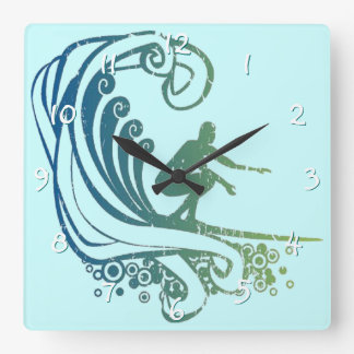 Cool Surfer Riding Teal Blue Ocean Waves Square Wall Clock