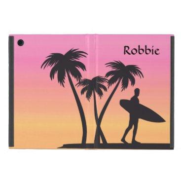 Cool Surfer Silhouette Pink Sunset iPad Mini Case