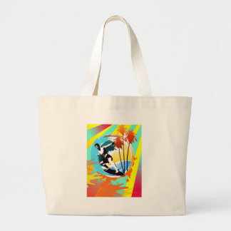 cool surfing dude on waves large tote bag