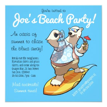 Beach Themed Cool Surfing Polar Bear with Cocktail Cartoon Card