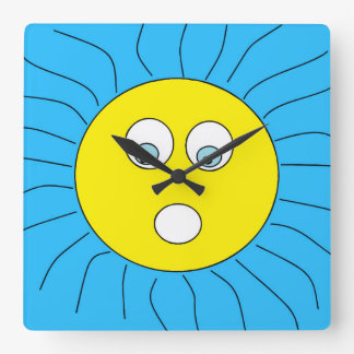 Cool Surprised Expression Sun Design Blue Square Wall Clock