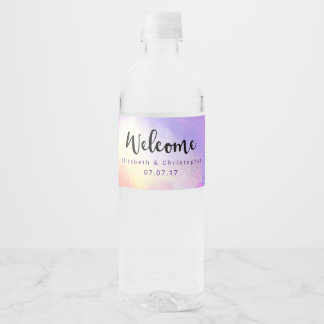 Cool Surreal Watercolor Design Welcome Wedding Water Bottle Label
