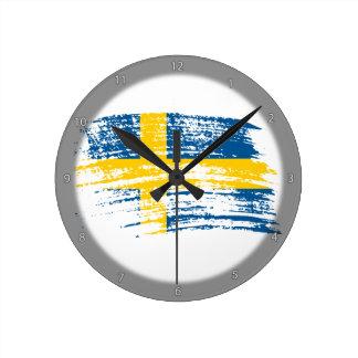 Cool Swedish flag design Round Clock