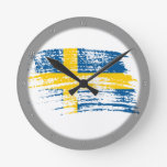 Cool Swedish flag design Round Wall Clocks