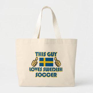 cool Swedish soccer fan DESIGNS Large Tote Bag