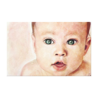 Cool sweet cute watercolour baby portrait paint gallery wrapped canvas
