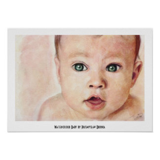 Cool sweet cute watercolour baby portrait paint posters