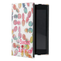 "Cool ""sweet summer"" watercolor pineapples pattern iPad mini case"