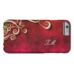 Cool Swirl Gold Monogram iphone case Barely There iPhone 6 Case