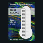 """Cool Swirls for your Goals Poster<br><div class=""""desc"""">You can customize the text and dollar amounts for your fundraising thermometer. This eye-catching design featuring a deep blue with swirling green and golden yellow misty trails will help everyone to see at a glance how well your efforts are going. There is room on the right side of the thermometer...</div>"""