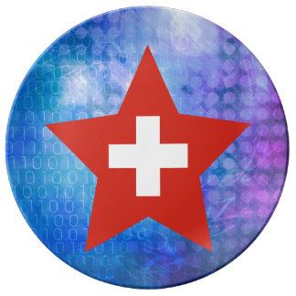 Cool Switzerland Flag Star Dinner Plate