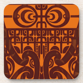 Cool symmetrical tribal Marquesas tattoo design Beverage Coaster