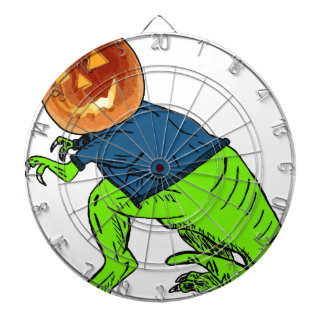 Cool T-Rex With a Jack O Lantern Head Dartboards