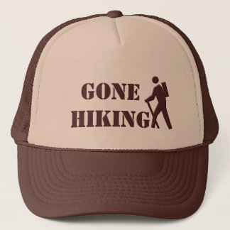 cool tan and brown gone hiking sports hat. trucker hat
