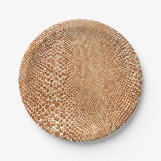 Cool Tan Snake Skin Pattern Photo Print Paper Plate