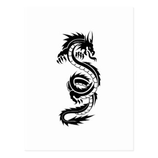 Cool tattoo style black dragon postcard