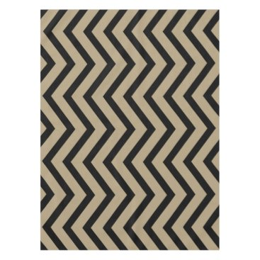 Halloween Themed Cool taupe gold black Chevron  tablecloth