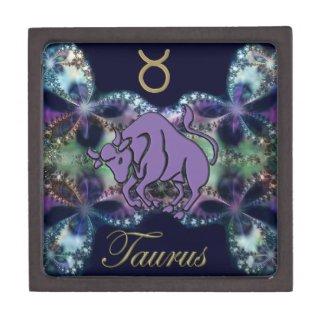 Cool Taurus Gift Box in Blue Fractal and Gold Premium Keepsake Boxes