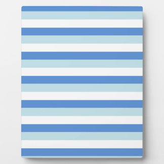 Cool Teal and Blue Stripes Pattern Plaque