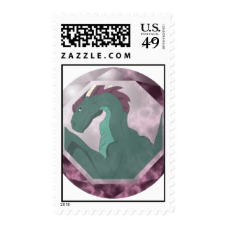 Cool Teal And Pink Dragon Gem Stamp