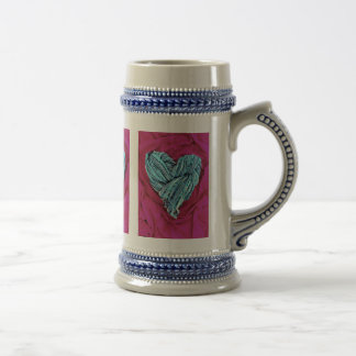 Cool Teal Blue Heart on Hot Pink Fabric Lovely Beer Stein