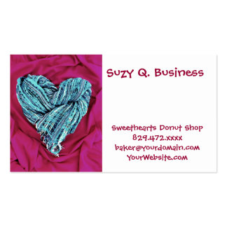 Cool Teal Blue Heart on Hot Pink Fabric Lovely Business Card