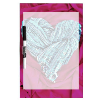 Cool Teal Blue Heart on Hot Pink Fabric Lovely Dry Erase Board