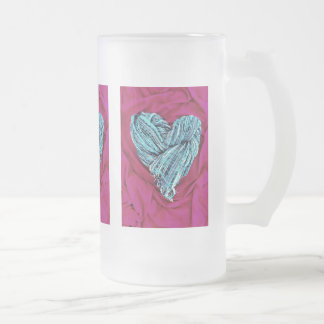 Cool Teal Blue Heart on Hot Pink Fabric Lovely Frosted Glass Beer Mug