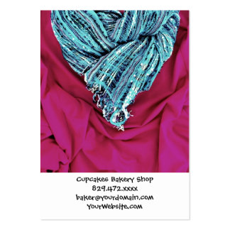 Cool Teal Blue Heart on Hot Pink Fabric Lovely Large Business Card