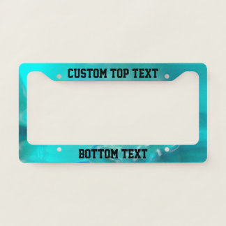 Cool Teal Blue Liquid Plastic Design 1264 License Plate Frame