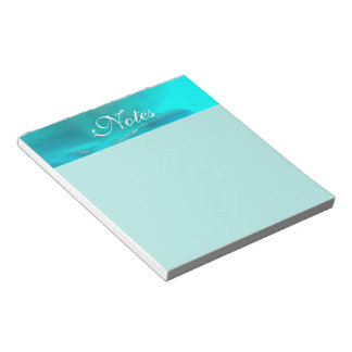 Cool Teal Blue Liquid Plastic Design Notepad