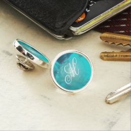 Cool Teal Blue Liquid Plastic Design Pin