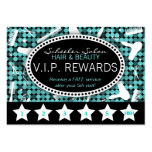 Cool Teal Glam Custom Salon Loyalty Punch Card Large Business Cards (Pack Of 100)