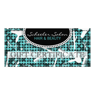 Cool Teal Glam Hair & Beauty Gift Certificate Full Color Rack Card