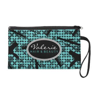 Cool Teal Glam Hair Salon Custom Wristlet Bag